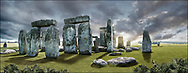 Circles of Stone - phto art of the enigmatic Stonehenge neolithic standing stone circle by Paul Williams. A dramatic atmospheric pamoramic view of Stonehenge.