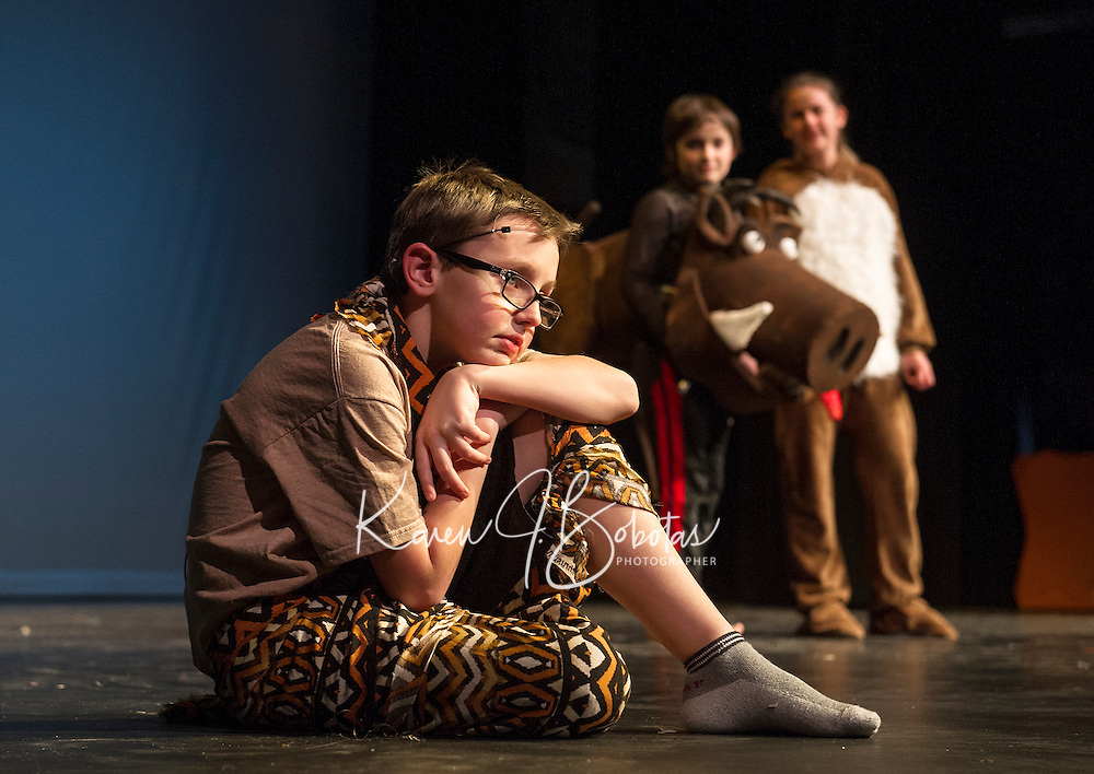 """Simba (Jesse Powers) meets up with Pumbaa (Sam Leggett) and Timon (Julie Auld) during dress rehearsal for Gilford Middle School's production of """"The Lion King"""" on Monday afternoon.  (Karen Bobotas/for the Laconia Daily Sun)"""