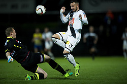 October 21, 2017 - Roeselare, BELGIUM - Westerlo's goalkeeper Kristof Van Hout and Roeselare's Mathieu Cornet fight for the ball during the soccer match between Roeselare and KVC Westerlo, in Roeselare, Saturday 21 October 2017, on the day eleven of the division 1B Proximus League competition of the Belgian soccer championship. BELGA PHOTO JASPER JACOBS (Credit Image: © Jasper Jacobs/Belga via ZUMA Press)