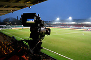 General view inside Rodney Parade stadium with a TV camers looking across the floodlit pitch before the The FA Cup match between Newport County and Middlesbrough at Rodney Parade, Newport, Wales on 5 February 2019.