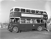 06/02/1957<br /> 02/06/1957<br /> 06 February 1957<br /> <br /> Special for CIE - Bus and Coat of Arms at Donnybrook Crash Garage