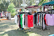 Outdoor clothes market at a fair