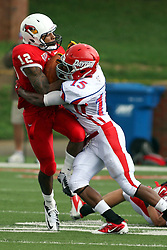 01 September 2012:  Tyrone Walker get wrapped up by Howard Savage during an NCAA football game between the Dayton Flyers and the Illinois State Redbirds at Hancock Stadium in Normal IL