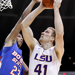 December 10, 2011; Baton Rouge, LA; LSU Tigers center Justin Hamilton (41) shoots over Boise State Broncos forward Ryan Watkins (23) during the first half of a game at the Pete Maravich Assembly Center.  Mandatory Credit: Derick E. Hingle-US PRESSWIRE