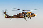 Israeli Air Force (IAF) helicopter, Sikorsky UH-60 Blackhawk (Yanshuf) in flight During a rescue mission