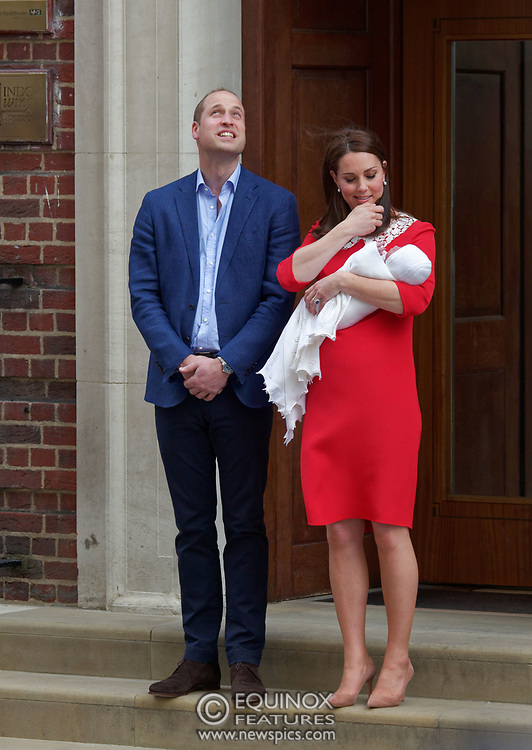London, United Kingdom - 23 April 2018<br /> Prince William and Kate Middleton, The Duke and Duchess of Cambridge show off their new baby as they leave the Lindo Wing of St. Mary's Hospital, Paddington, London, England, UK, Europe.<br /> www.newspics.com/#!/contact<br /> (photo by: EQUINOXFEATURES.COM)<br /> Picture Data:<br /> Photographer: Equinox Features<br /> Copyright: ©2018 Equinox Licensing Ltd. +448700 780000<br /> Contact: Equinox Features<br /> Date Taken: 20180423<br /> Time Taken: 17514166