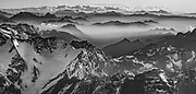 Andes mountains at sunset near Aconcagua, ( highest peak in South America) , aerial view, border between Argentina and Chile.