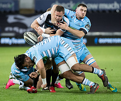 2nd November, Liberty Stadium , Swansea, Wales ; Guinness pro 14's Ospreys Rugby v Glasgow Warriors ;  Hanno Dirksen of Ospreys under pressure from Scott Cummings of Glasgow Warriors<br /> <br /> Credit: Simon King/News Images<br /> <br /> Photographer Simon King/Replay Images<br /> <br /> Guinness PRO14 Round 8 - Ospreys v Glasgow Warriors - Friday 2nd November 2018 - Liberty Stadium - Swansea<br /> <br /> World Copyright © Replay Images . All rights reserved. info@replayimages.co.uk - http://replayimages.co.uk