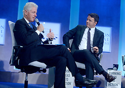 Bill Clinton and Matteo Renzi at The Business And Political Leaders Attend Clinton Global Initiative Annual Meeting in New York, September 19th 2016.