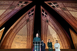 The Duchess of Cambridge speaks at a reception hosted by the British High Commissioner to Pakistan Thomas Drew CMG at the National Monument in Islamabad during the second day of the royal visit to Pakistan.