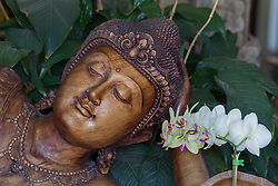 magnificent statue of a resting Buddha carved in stone surrounded by plants and flowers