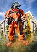 Kirby Morgan Superlite 17 commercial diver at Dutch Springs, Scuba Diving Resort in Bethlehem, Pennsylvania