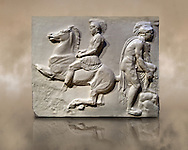 Releif Sculptures from the frieze around the Parthenon Block VI. From the Parthenon of the Acropolis Athens. A British Museum Exhibit known as The Elgin Marbles .<br /> <br /> If you prefer to buy from our ALAMY STOCK LIBRARY page at https://www.alamy.com/portfolio/paul-williams-funkystock/greco-roman-sculptures.html . Type -    Elgin    - into LOWER SEARCH WITHIN GALLERY box - Refine search by adding a subject, place, background colour, etc.<br /> <br /> Visit our ROMAN WORLD PHOTO COLLECTIONS for more photos to download or buy as wall art prints https://funkystock.photoshelter.com/gallery-collection/The-Romans-Art-Artefacts-Antiquities-Historic-Sites-Pictures-Images/C0000r2uLJJo9_s0
