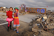 Diane Kichijitsu and Chindonya performer Kei Hananoya, Ishinomaki, Miyagi Prefecture, Japan, May 5, 2011. Rakugo-ka (comic story-teller) and balloon artist Diane Kichijitsu travelled with other performers to Ishinomaki to perform of victims of the March 11 earthquake and tsunami.