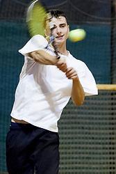 Blaz Bizjak as sparring partner during practice session before Davis Cup between National team of Slovenia and JAR on September 9, 2013 in Sports center Dolgi most, Ljubljana, Slovenia. (Photo By Urban Urbanc / Sportida)