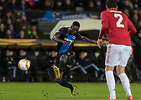 Football - 2019 / 2020 UEFA Europa League - Round of Thirty-Two, First Leg: Club Bruges vs. Manchester United<br /> <br /> Odilon Kossounou (Club Brugge) with an attempt at the Manchester United goal at Jan Breydel Stadium.<br /> <br /> COLORSPORT/DANIEL BEARHAM