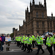 Police clearing the last few protestors from Westminster Bridge..The Health and Care Bill has been passed by Parliament and is due to go to the House of Lords. In protest against the bill which aim to deconstruct and privatise large parts of the NHS UK Uncut activists together with health workers and trade unionists blocked the Westminster Bridge from 1pm til 5.30pm.
