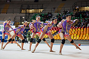 The Italian senior rhythmic gymnastics team during a training session in Desio, 08 February 2020.