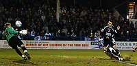 Photo: Chris Ratcliffe.<br /> Colchester United v Swansea City. LDV Vans Trophy. 14/03/2006.<br /> Leon Britton of Swansea scoring the Swansea equaliser