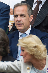 © Licensed to London News Pictures. 08/07/2016. MARK CARNEY watches tennis from the Royal Box tennis on the centre court on the twelfth day of the WIMBLEDON Lawn Tennis Championships. London, UK. Photo credit: Ray Tang/LNP