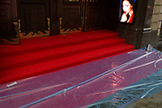 A rain-soaked red carpet that awaits crowds seeing the English National Operas opening night of Orpheus and Eurydice at the Coliseum on St. Martins Lane, on 1st October 2019, in London, England.
