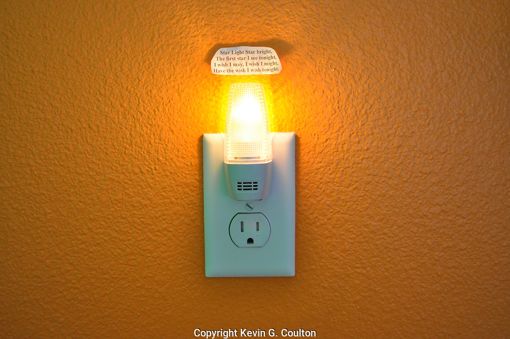 """This is my youngest daughter's night light where she taped above the light the poem """"Star Light Star Bright, The first star I see tonight, I wish I may, I wish I might, Have the wish I wish tonight""""."""