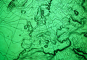 "A detail of a computerized weather chart showing atmospheric pressure isobars across western Europe on 16/9/91 at the European Centre for Medium-Range Weather Forecasts (ECMWF), Reading, UK. ECMWF  is an international organisation supported by 31 States, based in England, Belgium, Denmark, Germany, Greece, Spain, France, Ireland, Italy, Luxembourg, the Netherlands, Norway, Austria, Portugal, Switzerland, Finland, Sweden, Turkey, United Kingdom. Its role is ""to provide monthly and seasonal-to-interannual forecasts; to deliver real-time analyses and forecasts of atmospheric composition; to carry out climate monitoring through regular re-analyses of the Earth-system and to contribute towards the optimization of the Global Observing System."" Source: http://www.ecmwf.int/"