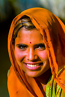 Young woman,  Bishnoi tribal village, near Rohet, Rajasthan, India