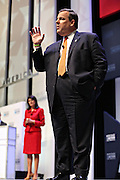 Republican presidential candidate Gov. Chris Christie speaks as SC Gov. Nikki Haley looks on at the Heritage Foundation Take Back America candidate forum September 18, 2015 in Greenville, South Carolina. The event features 11 presidential candidates but Trump unexpectedly cancelled at the last minute.