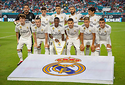 July 31, 2018 - Miami Gardens, FL, USA - The Real Madrid team poses for photographers before the start of International Champions Cup action against Manchester United at Hard Rock Stadium in Miami Gardens, Fla., on Tuesday, July 31, 2018. Manchester United won, 2-1. (Credit Image: © Al Diaz/TNS via ZUMA Wire)