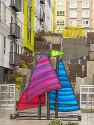 United States, Washington, Seattle, sailboat sculplture by apartment building