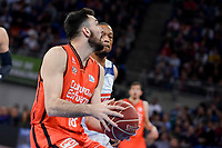 Real Madrid's Anthony Randolph and Valencia Basket's Pierre Oriola during Quarter Finals match of 2017 King's Cup at Fernando Buesa Arena in Vitoria, Spain. February 19, 2017. (ALTERPHOTOS/BorjaB.Hojas)