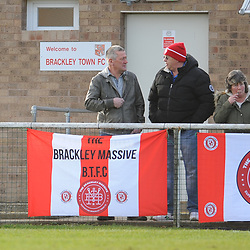 TELFORD COPYRIGHT MIKE SHERIDAN 9/2/2019 - Brackley Town fans general view during the Vanarama Conference North fixture between Brackley Town and AFC Telford United at St James' Park.