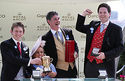 Ellie Simmonds presents trophies to Edward Harper (left) and members of Hot To Trot Racing Club, Luke Lillingston (centre) and Sam Hoskins after the Queen Mary Stakes during day two of Royal Ascot at Ascot Racecourse.