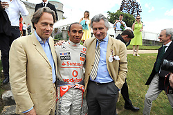 Left to right, the EARL OF MARCH, LEWIS HAMILTON and ARNAUD BAMBERGER at the Cartier Style et Luxe, the Goodwood Festival of Speed, West Sussex on 13th July 2008.<br /> <br /> NON EXCLUSIVE - WORLD RIGHTS