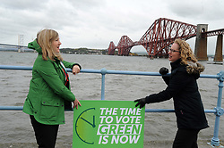 """Scottish Greens co-leader Lorna Slater (right) says """"The time to vote Green is now"""" With Lothian Candidate, Alison Johnstone (Left).<br /> <br /> (c) David Wardle 
