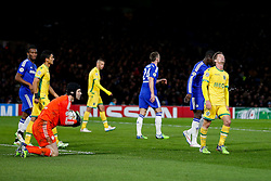 Adrien Silva of Sporting looks frustrated as Petr Cech of Chelsea saves his shot - Photo mandatory by-line: Rogan Thomson/JMP - 07966 386802 - 10/12/2014 - SPORT - FOOTBALL - London, England - Stamford Bridge - Sporting Clube de Portugal - UEFA Champions League Group G.