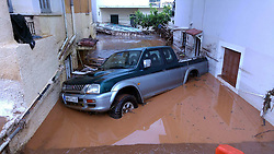 ATHENS, Sept. 7, 2016 (Xinhua) -- A Vehicle is seen damaged by flood in Kalamata city, some 240 kilometers south of Athens, Greece, Sept. 7, 2016. Heavy rain hit southern Greece, causing a flash flood which killed a 63-year-old woman in a village, according to the local fire brigade. (Xinhua/Marios Lolos)(yk) (Credit Image: © Marios Lolos/Xinhua via ZUMA Wire)