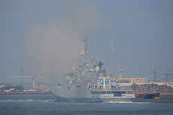 © Licensed to London News Pictures. 10/05/2017. The Indian Navy's stealth frigate INS Tarkash pictured sailing down the Thames today after a port visit to London giving off plumes of smoke. INS Tarkash was built at a Russian shipyard and commissioned in 2012. Credit : Rob Powell/LNP