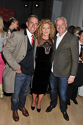 Left to right, BEN DE LISI, KELLY HOPPEN and JOHN GARDNER at the 2012 Rodial Beautiful Awards held at The Sanderson Hotel, Berners Street, London on 6th March 2012.