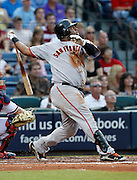 ATLANTA - AUGUST 7:  Third baseman Pablo Sandoval #48 of the San Francisco Giants follows through on a swing during the game against the San Francisco Giants at Turner Field on August 7, 2010 in Atlanta, Georgia.  The Braves beat the Giants 3-0.  (Photo by Mike Zarrilli/Getty Images)