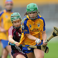 22 August 2010; Katie Cahill, Clare, in action against Tara Kenny, Galway. All-Ireland Minor A Camogie Championship Final, Galway v Clare, Semple Stadium, Thurles, Co. Tipperary. Picture credit: Matt Browne / SPORTSFILE *** NO REPRODUCTION FEE ***