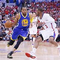 21 April 2014: Golden State Warriors forward Andre Iguodala (9) drives past Los Angeles Clippers guard Chris Paul (3) during the Los Angeles Clippers 138-98 victory over the Golden State Warriors, during Game Two of the Western Conference Quarterfinals of the NBA Playoffs, at the Staples Center, Los Angeles, California, USA.