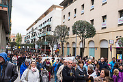 General Strike in Catalonia: Citizens occupy streets of Sant Cugat del Valle as part of a strike that also saw major motorways and railways being closed, in protest of the Spanish governments seizing of Catalan media, public services overall autonomy, and the jailing of Catalan government ministers and activists. Dave Walsh 2017. davewalshphoto.com