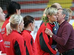 Director of Krim Jernej Virant kisses Anja Freser for Women day at handball match of 1/4 finals of Women handball Cup Winners cup between RK Krim Mercator, Ljubljana and C.S. Rulmentul-Urban Brasov, Romania, in Arena Kodeljevo, Ljubljana, Slovenia, on 8th of March 2008. Rulmentul-Urban won match against RK Krim Mercator with 29:27.