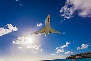 Corporate jet on final approach to Princess Juliana Airport, St. Martin.