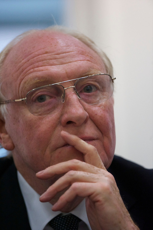 Lord Kinnock ponders a speech during a fringe panel discussion event at the Labour Party Conference in Manchester on 28 September 2010.