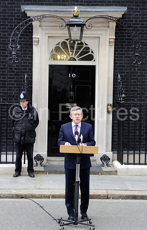 British Prime Minister Gordon Brown offers  his resignation as prime minister in a dramatic attempt to secure Labour a power-sharing government with the Liberal Democrats, May 10, 2010. The Liberal Democrats went on to do a deal with the Conservative party and formed a coalition government.