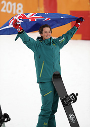 February 14, 2018 - PyeongChang, South Korea - Bronze medal winner SCOTTY JAMES of Australia celebrates winning a gold medal in Snowboard Men's Halfpipe Final at Phoenix Snow Park during the 2018 Pyeongchang Winter Olympic Games. (Credit Image: © Scott Mc Kiernan via ZUMA Wire)