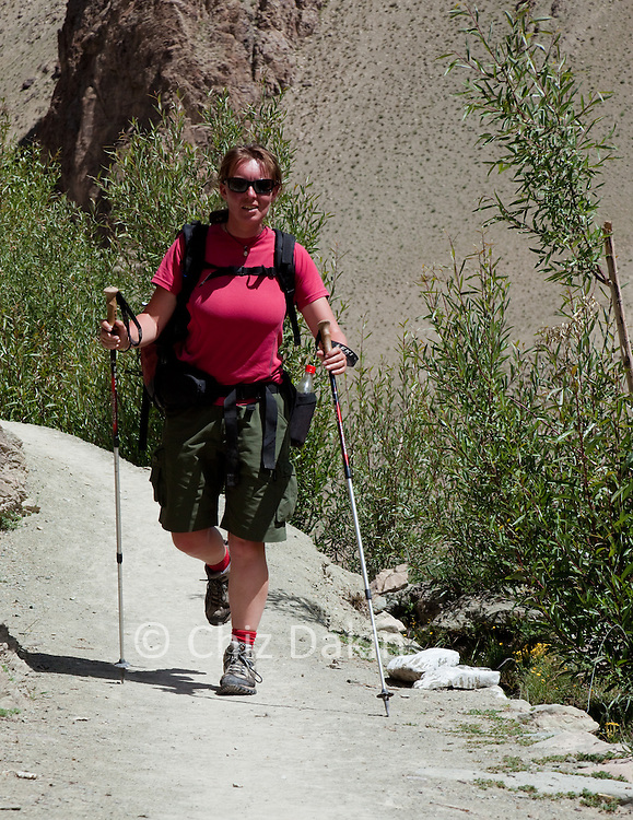 Walker wearing t-shirt and cargo shorts with trekking poles and rucksack on high mountain path near the start of the ascent to the Kongmaru-la, Ladakh